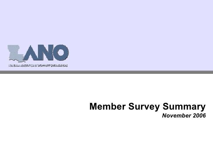 Member Survey Summary November 2006