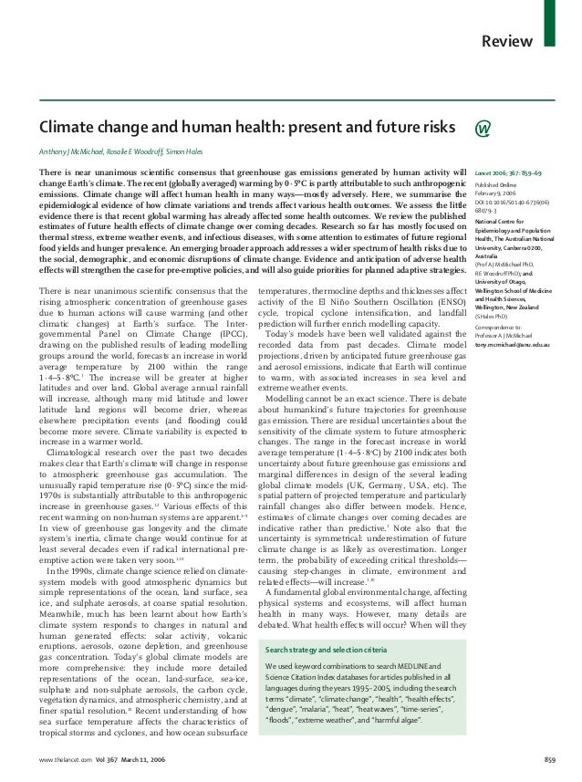 Review  Climate change and human health: present and future risks Anthony J McMichael, Rosalie E Woodruff, Simon Hales  Th...