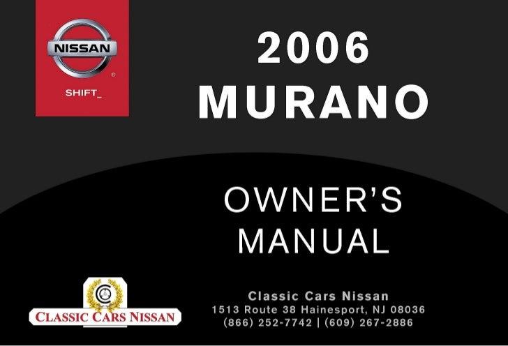 2006 murano owner s manual rh slideshare net 2006 Nissan Murano S AWD Modified 2006 Nissan Murano S Engine
