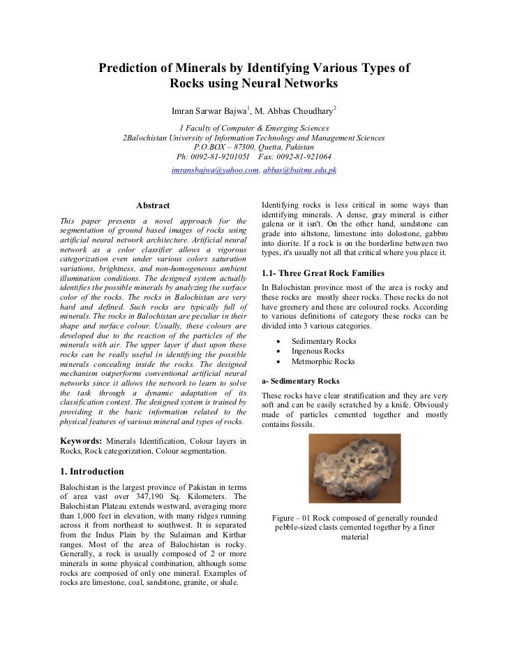 Prediction of Minerals by Identifying Various Types of                        Rocks using Neural Networks                 ...