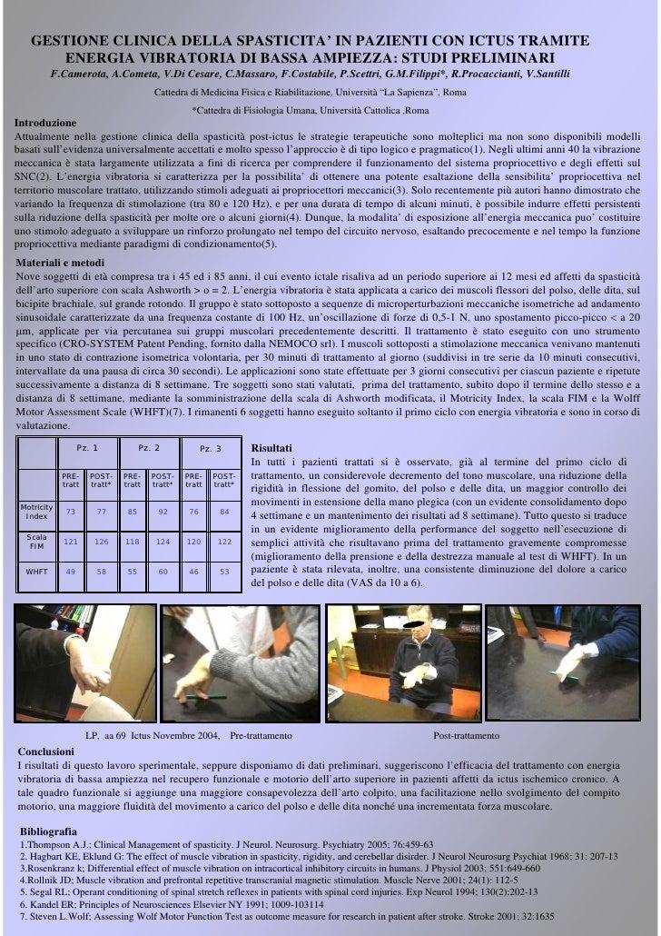 GESTIONE CLINICA DELLA SPASTICITA' IN PAZIENTI CON ICTUS TRAMITE      ENERGIA VIBRATORIA DI BASSA AMPIEZZA: STUDI PRELIMIN...