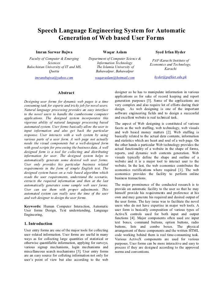 Speech Language Engineering System for Automatic                Generation of Web based User Forms        Imran Sarwar Baj...