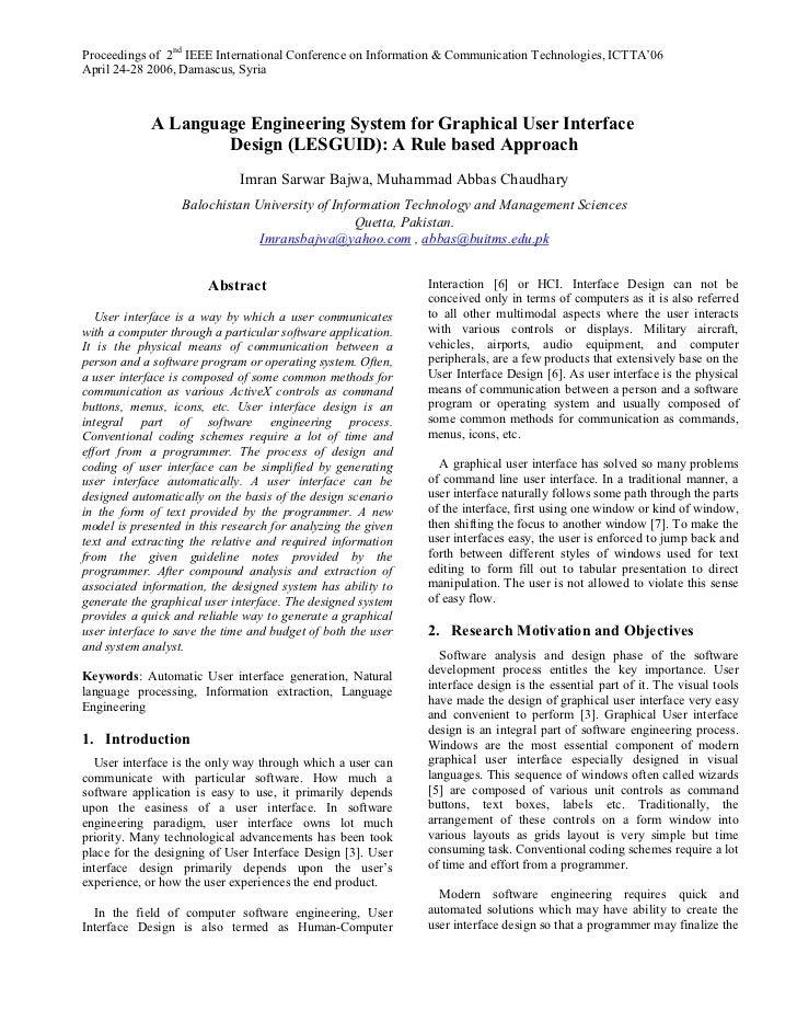User Interface Design (ICTTA 2006)