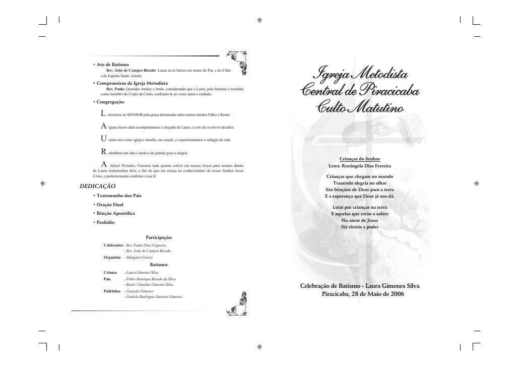 Igreja Metodista Central de Piracicaba   Culto Matutino                 Crianças do Senhor           Letra: Rosângela Dias...