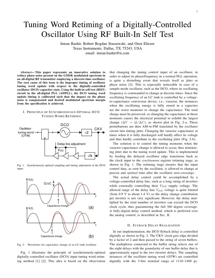 1           Tuning Word Retiming of a Digitally-Controlled            Oscillator Using RF Built-In Self Test              ...