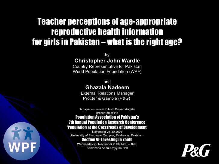 Teacher perceptions of age-appropriate reproductive health information for girls in Pakistan – what is the right age? by C...