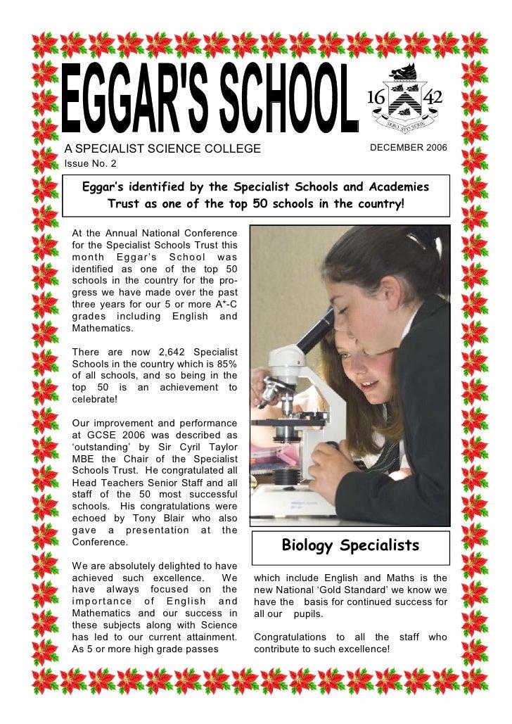ASPECIALISTSCIENCECOLLEGE                                            DECEMBER2006 IssueNo.2     Eggar's identifie...
