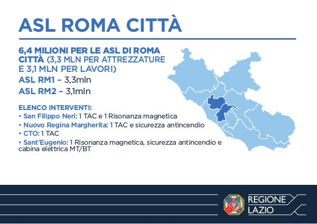 ASL ROMA CITTÀ ------------------------------------------------------------6,4 MILIONI PER LE ASL DI ROMA CITTÀ (3,3 MLN P...