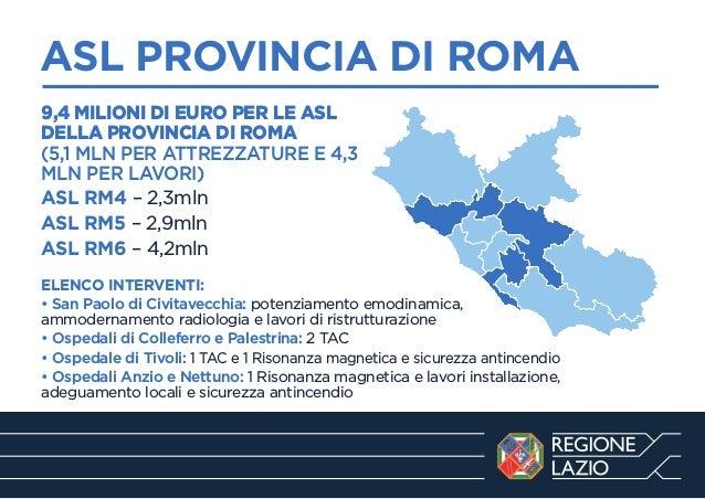 ASL PROVINCIA DI ROMA ------------------------------------------------------------9,4 MILIONI DI EURO PER LE ASL DELLA PRO...
