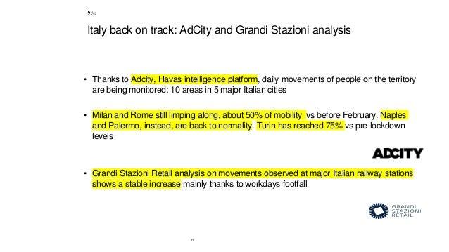 11 Italy back on track: AdCity and Grandi Stazioni analysis • Thanks to Adcity, Havas intelligence platform, daily movemen...