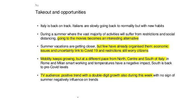 21 Takeout and opportunities • Italy is back on track. Italians are slowly going back to normality but with new habits • D...