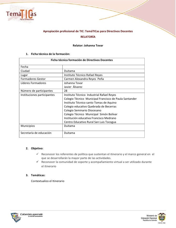 Apropiación profesional de TIC: TemáTICas para Directivos Docentes                                                RELATORÍ...