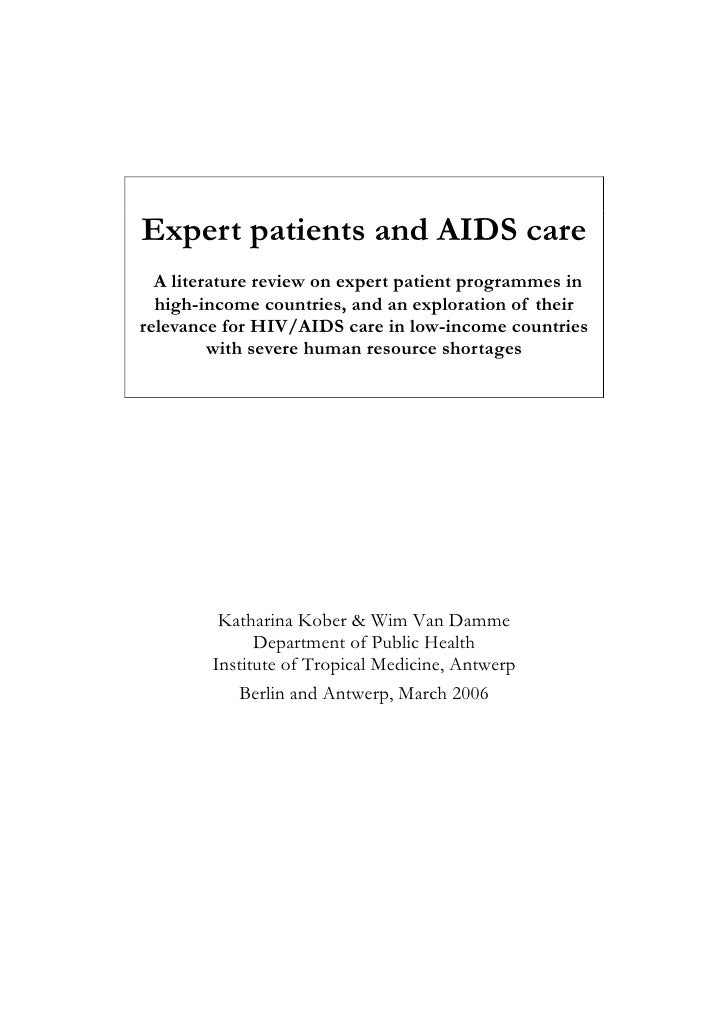 Expert patients and AIDS care   A literature review on expert patient programmes in   high-income countries, and an explor...