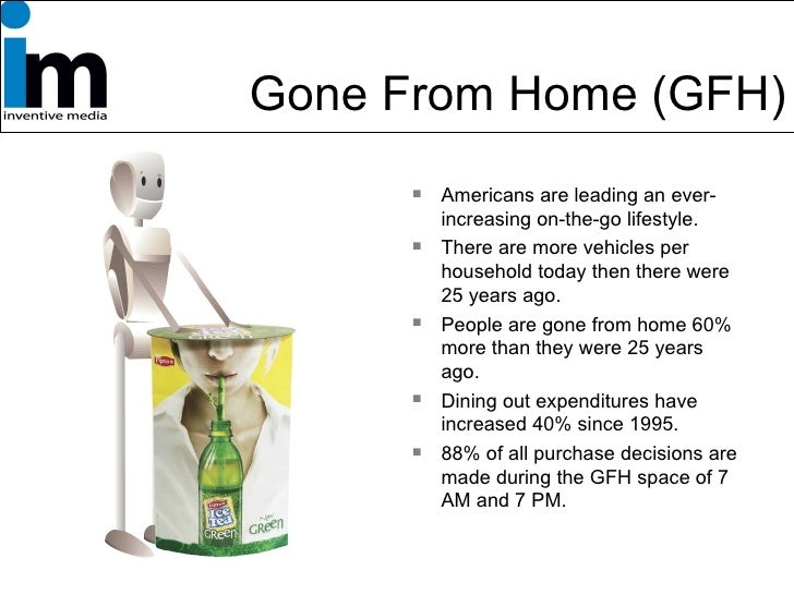 Gone From Home (GFH) <ul><li>Americans are leading an ever-increasing on-the-go lifestyle. </li></ul><ul><li>There are mor...