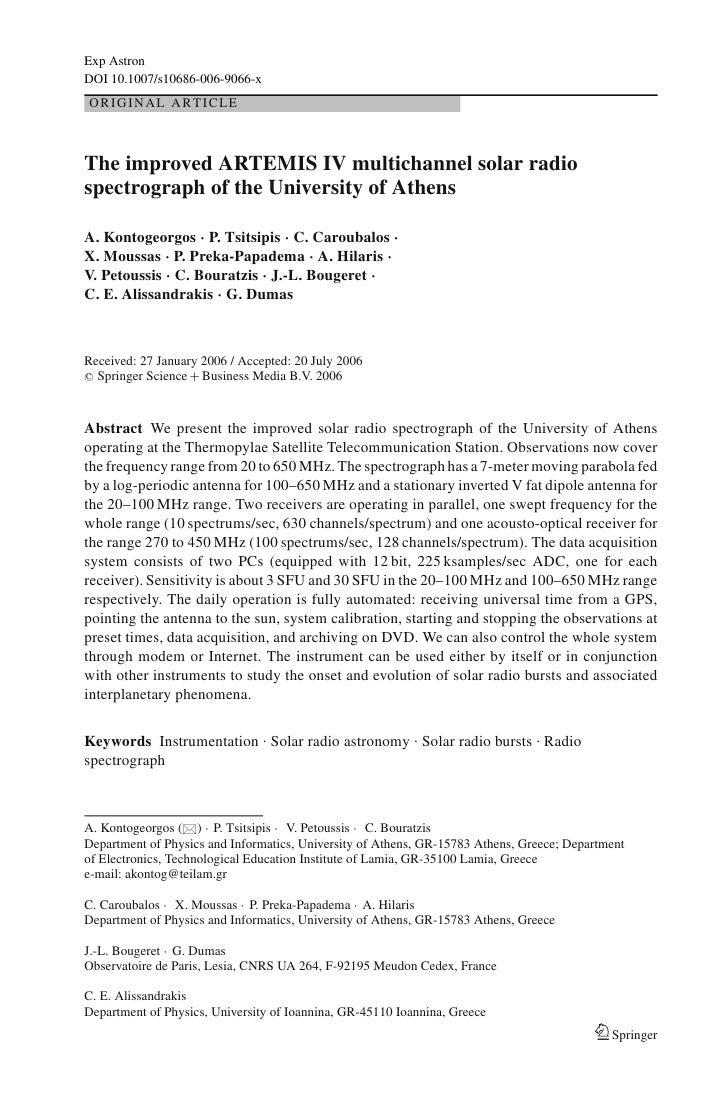 Exp Astron DOI 10.1007/s10686-006-9066-x ORIGINAL ARTICLE    The improved ARTEMIS IV multichannel solar radio spectrograph...