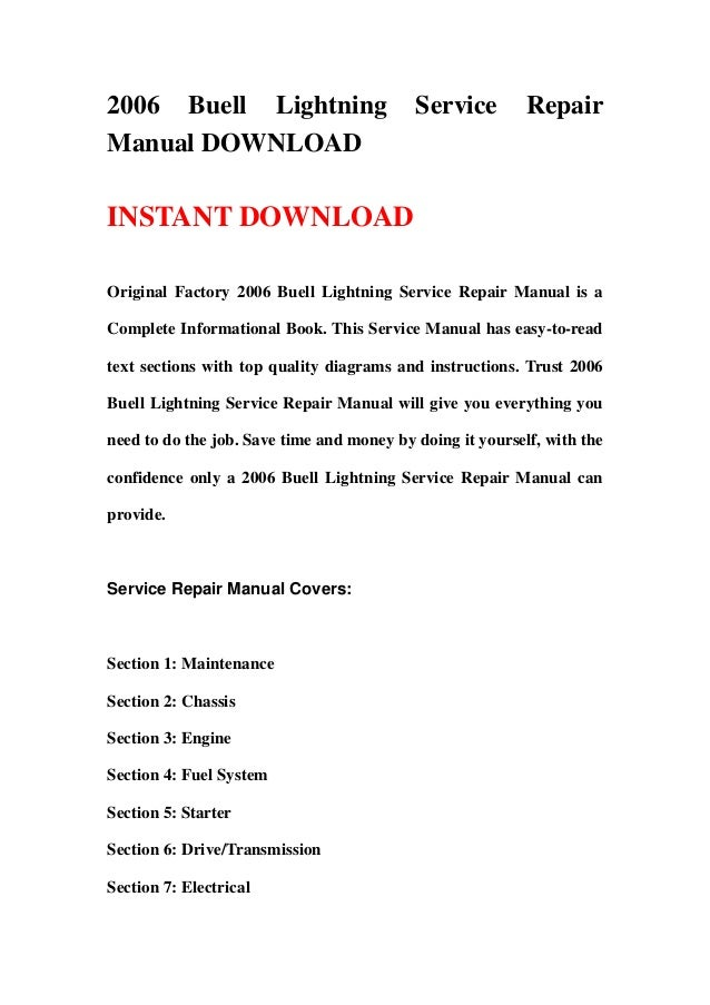 2006 buell lightning service repair manual download rh slideshare net 2002 Buell X1 Lightning 2009 Buell Lightning