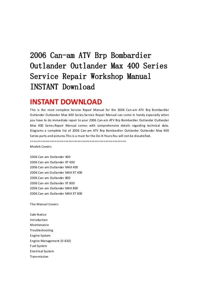 2006 Can Am Atv Brp Bombardier Outlander Max 400 Series Ser\u2026rhslideshare: Can Am Outlander Wiring Diagram At Gmaili.net