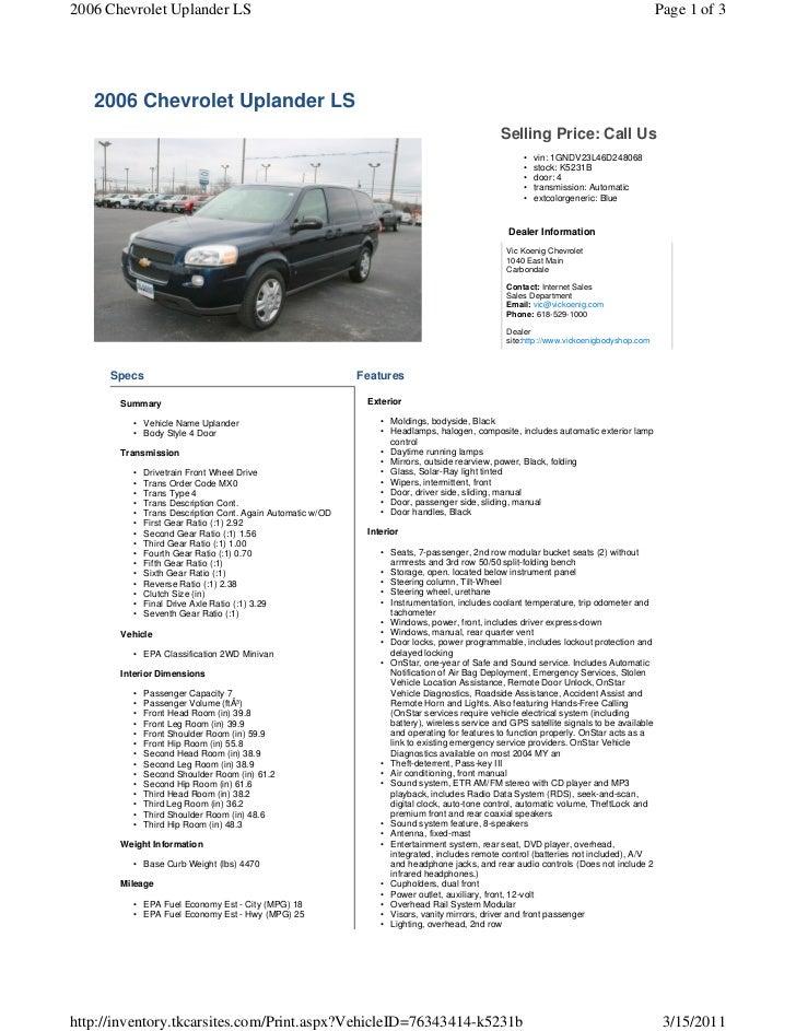 2006 Chevy Uplander Ls