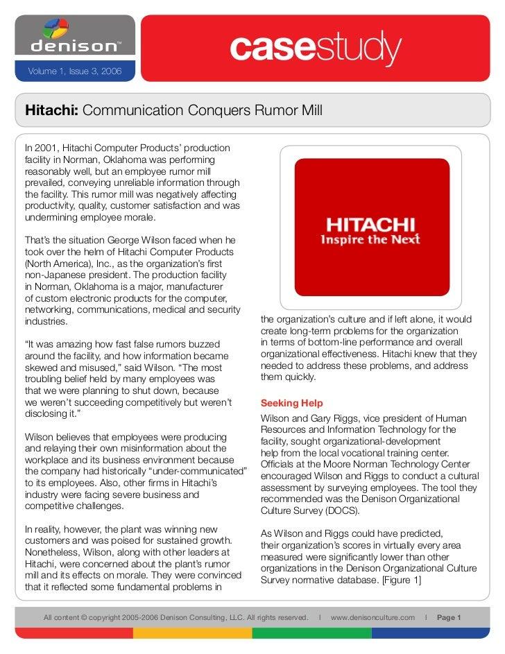 Volume 1, Issue 3, 2006                                                            casestudy Hitachi: Communication Conque...
