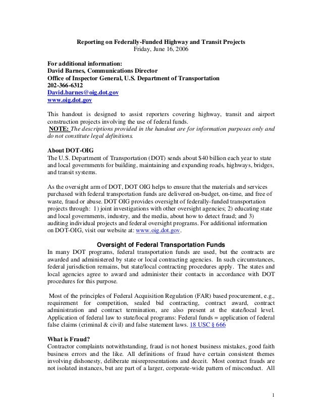 Reporting on Federally-Funded Highway and Transit Projects                              Friday, June 16, 2006For additiona...