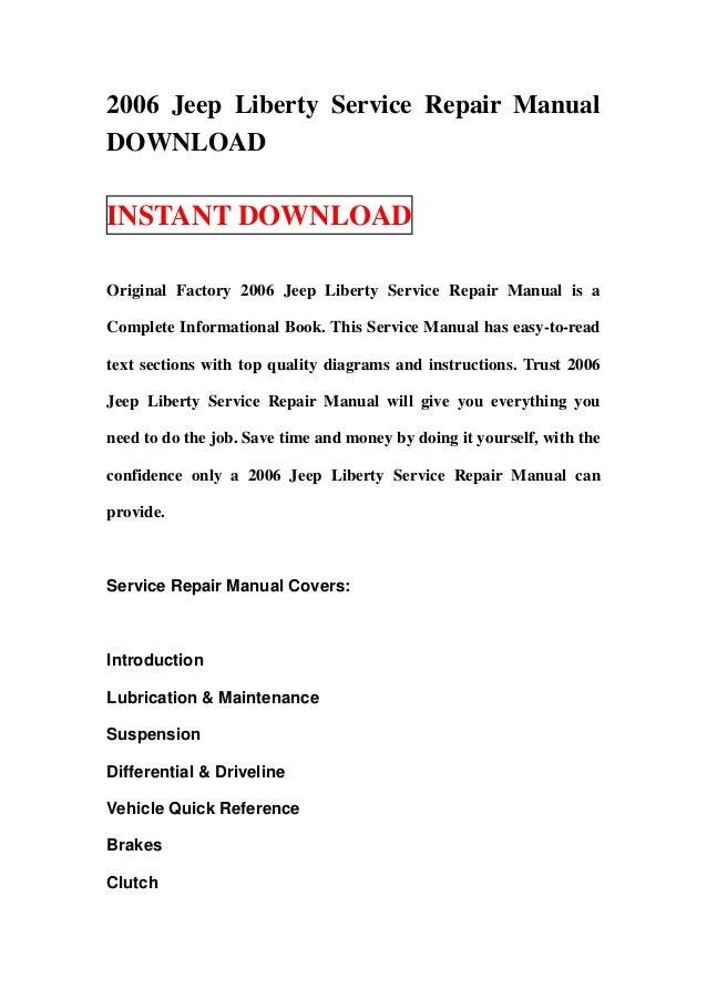 2006 jeep liberty service repair manual download rh slideshare net 2006 jeep liberty service manual pdf 2006 jeep liberty service manual pdf