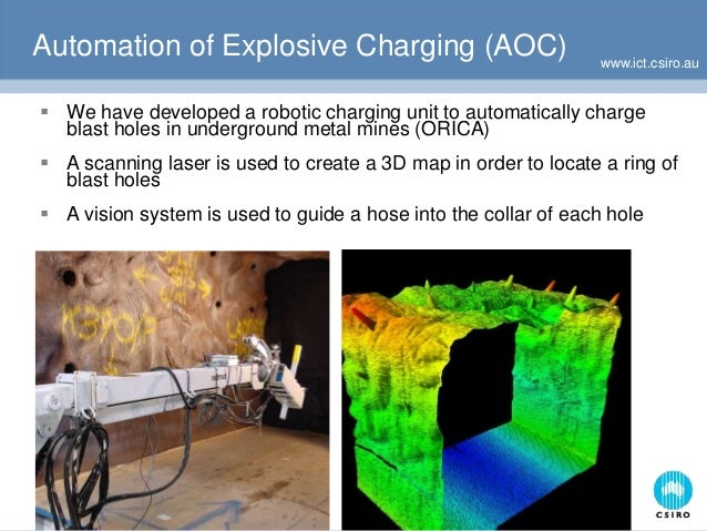 www.ict.csiro.au Automation of Explosive Charging (AOC)  We have developed a robotic charging unit to automatically charg...