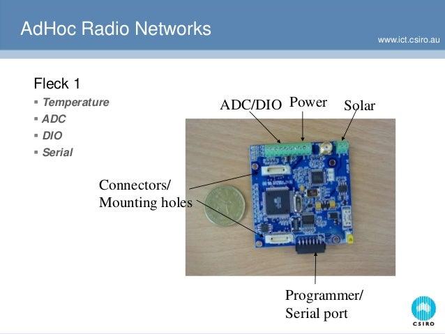 www.ict.csiro.au ADC/DIO Power Solar Programmer/ Serial port Connectors/ Mounting holes AdHoc Radio Networks Fleck 1  Tem...