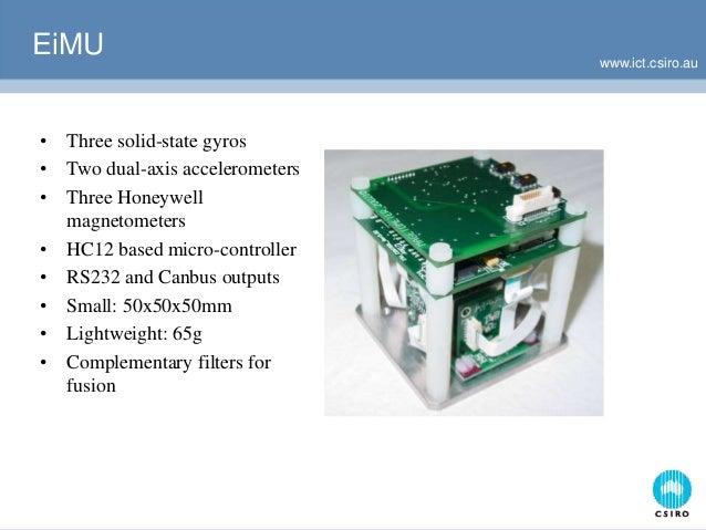 www.ict.csiro.au EiMU • Three solid-state gyros • Two dual-axis accelerometers • Three Honeywell magnetometers • HC12 base...