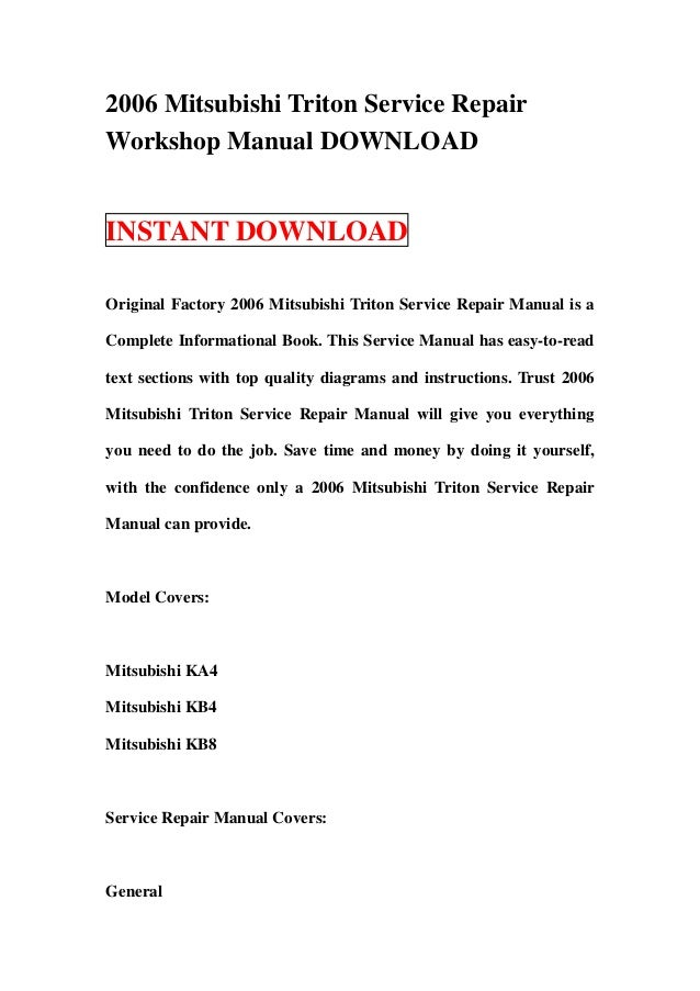 2006 mitsubishi triton service repair workshop manual download rh slideshare net 2010 Mitsubishi Triton Toyota Hiace