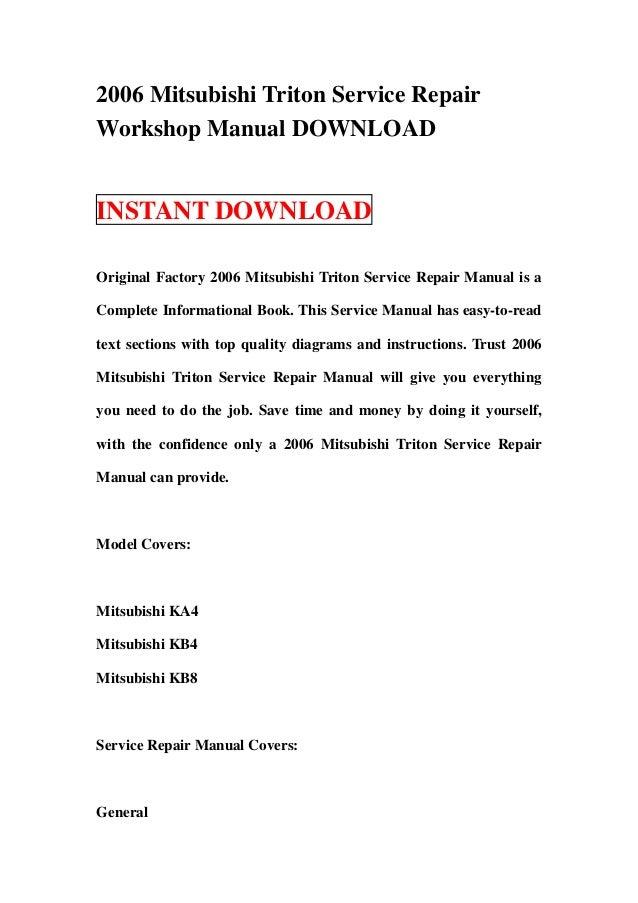 2006 mitsubishi triton service repair workshop manual download rh slideshare net Mitsubishi Triton 2016 Subaru Forester