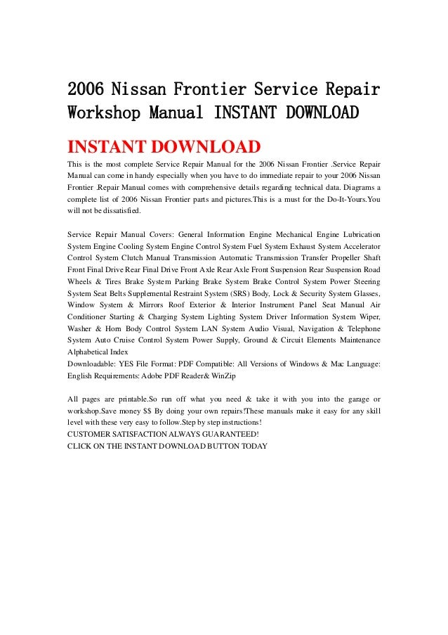 2006 Nissan Frontier Service Repair Workshop Manual