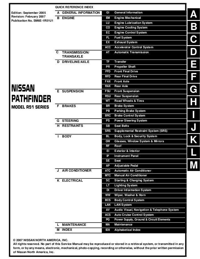 2006 Nissan Pathfinder Service Repair Manual