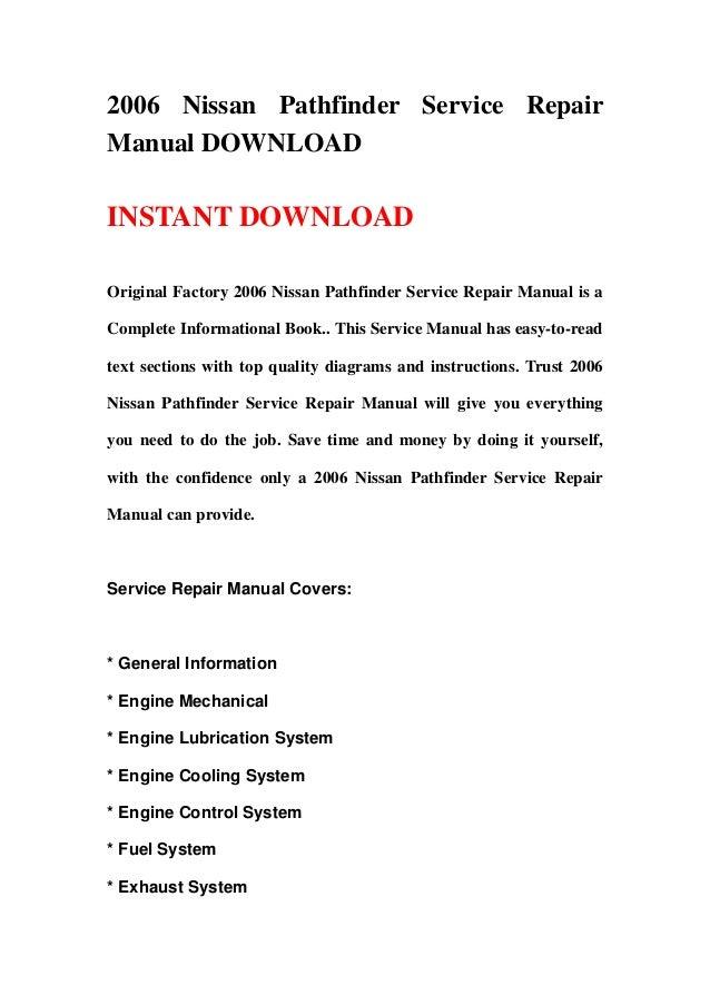 2006 nissan pathfinder service repair manual download rh slideshare net 2006 Nissan Pathfinder 2014 Nissan Pathfinder