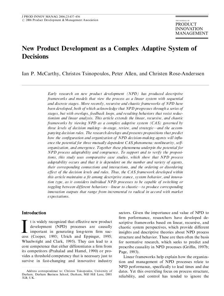 J PROD INNOV MANAG 2006;23:437–456r 2006 Product Development & Management AssociationNew Product Development as a Complex ...