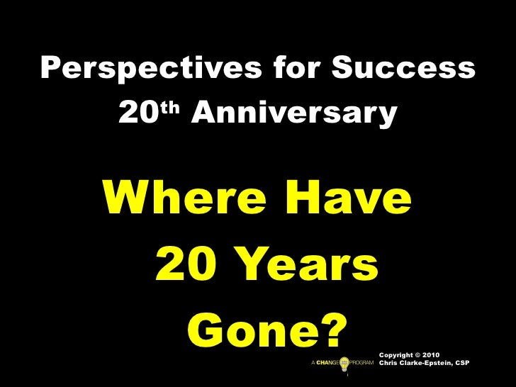 Perspectives for Success 20 th  Anniversary Where Have 20 Years Gone? Copyright © 2010 Chris Clarke-Epstein, CSP