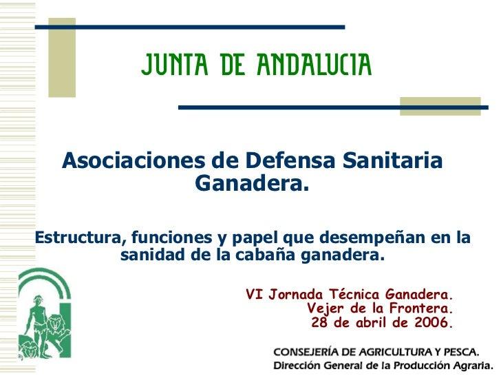 Asociaciones de Defensa Sanitaria              Ganadera.Estructura, funciones y papel que desempeñan en la          sanida...
