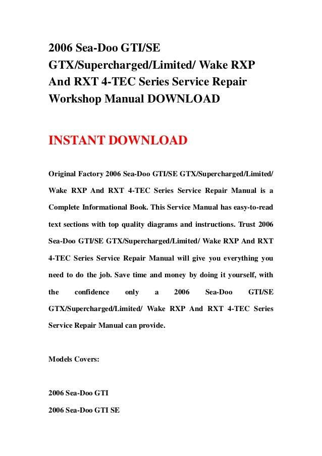 2006 seadoo workshop service repair manual