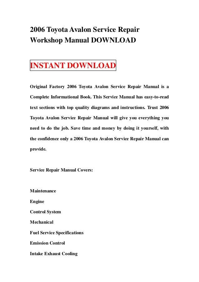 2006 toyota avalon service repair workshop manual download rh slideshare net toyota avalon service manual free download 2002 toyota avalon service manual