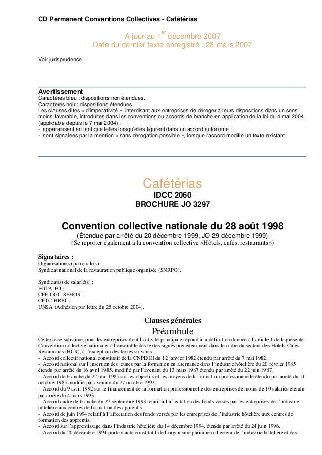 CD Permanent Conventions Collectives - Cafétérias er  A jour au 1 décembre 2007 Date du dernier texte enregistré : 28 mars...