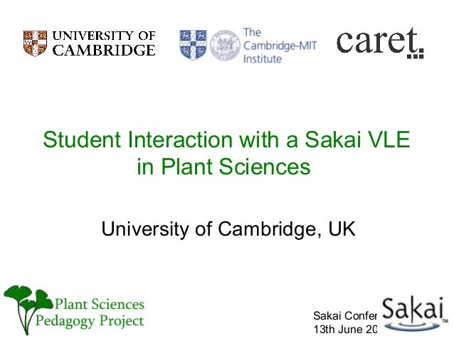 Student Interaction with a Sakai VLE         in Plant Sciences     University of Cambridge, UK                           S...