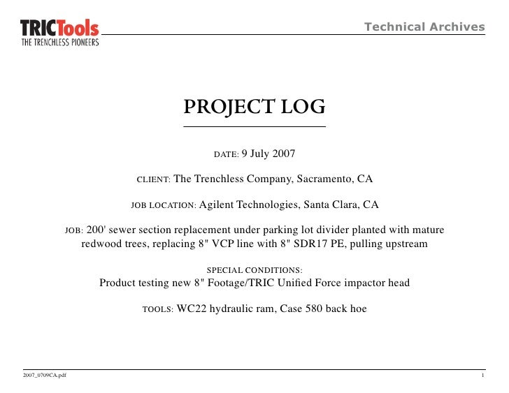 Technical Archives                                             PROJECT LOG                                                ...