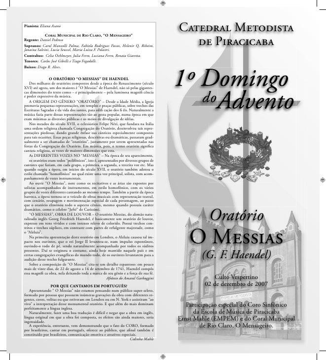 """Pianista: Eliana Asano               CORAL MUNICIPAL DE RIO CLARO, """"O MENSAGEIRO""""                                         ..."""
