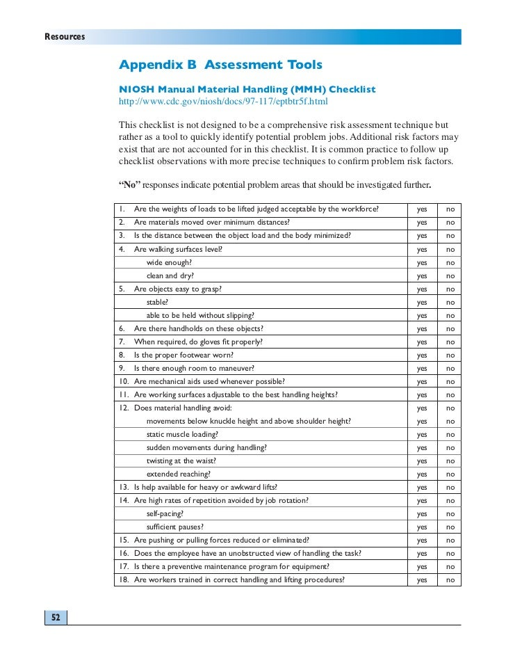 manual handling risk assessment factors to consider