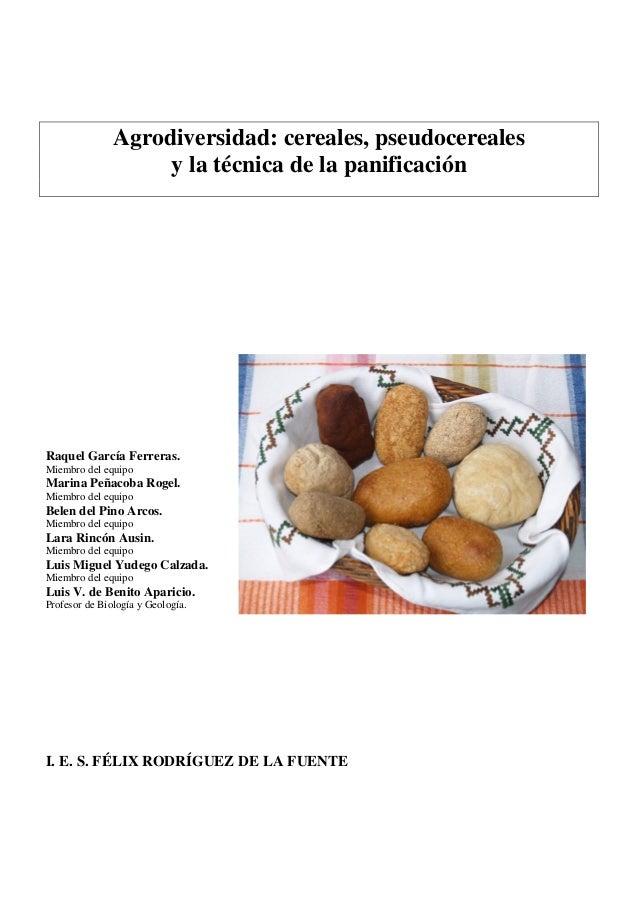 Agrodiversidad: cereales, pseudocereales                    y la técnica de la panificaciónRaquel García Ferreras.Miembro ...