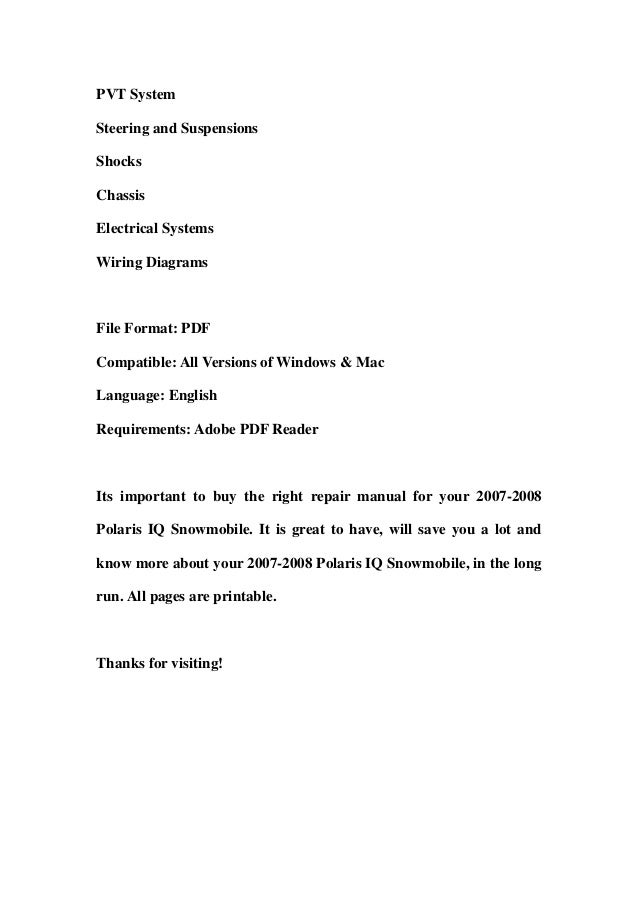 polaris iq snowmobile service repair workshop manual 2007 2008