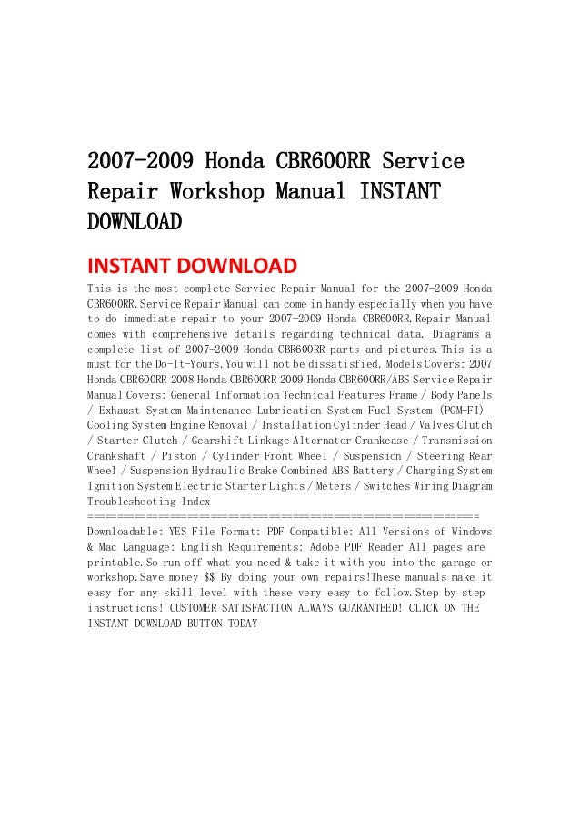 2007 2009 Honda Cbr600 Rr Service Repair Workshop Manual Instant Down