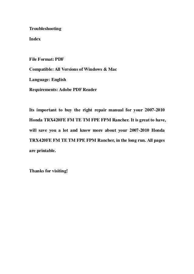 2007 2010 honda trx420fe fm te tm fpe fpm rancher service. Black Bedroom Furniture Sets. Home Design Ideas
