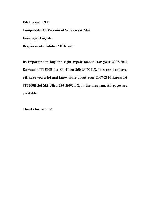 Kawasaki Ultra X Service Manual