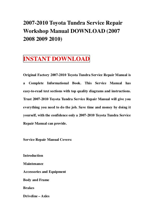 2007 2010 toyota tundra service repair manual download 2007 2008 200 rh slideshare net 2007 toyota tundra repair manual pdf 2007 toyota tundra manual transmission