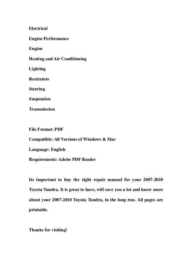 2007 2010 toyota tundra service repair workshop manual download 2007 rh slideshare net 2014 Toyota Tundra 2018 Tundra Manual Inside